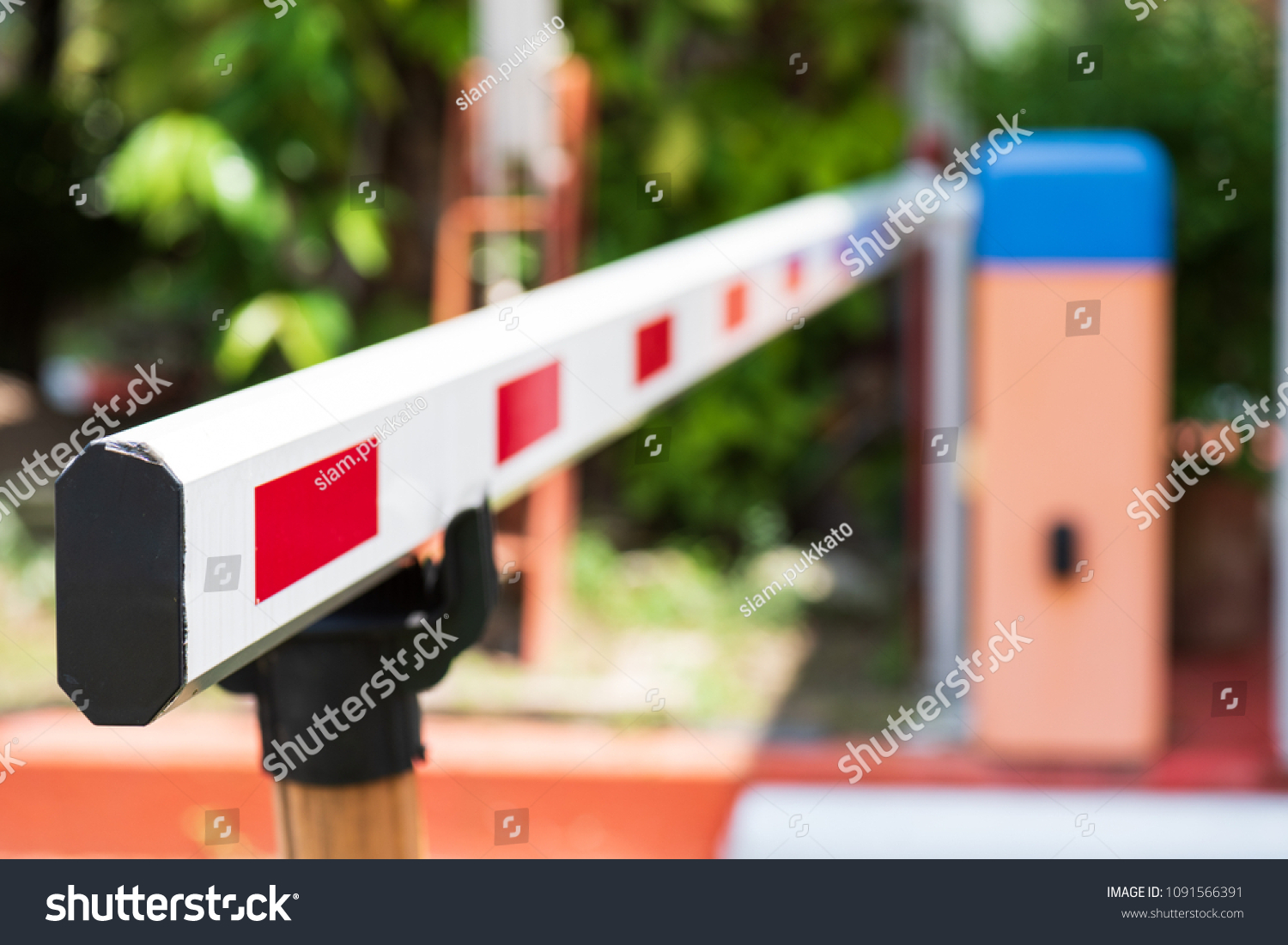 Close up Barrier Gate Automatic system for security. Automatic entry system. #1091566391