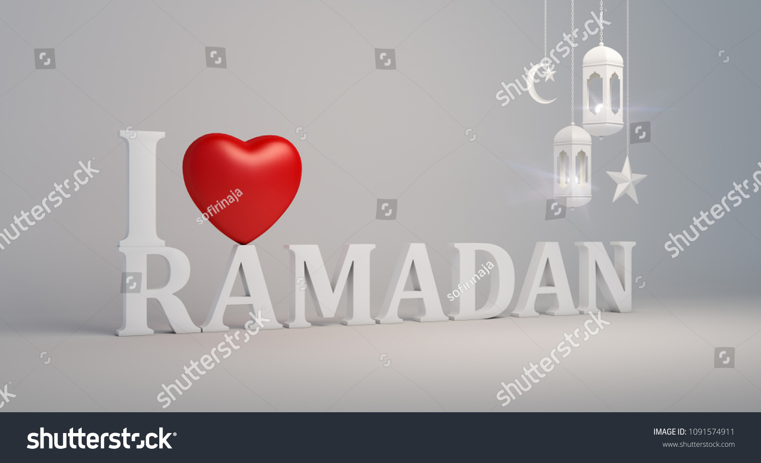Love Ramadan Text Red Heart Shape Stock Illustration 1091574911