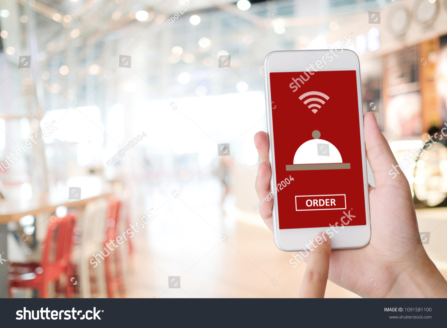 Hand Holding Smart Phone Food Online Stock Photo Edit Now