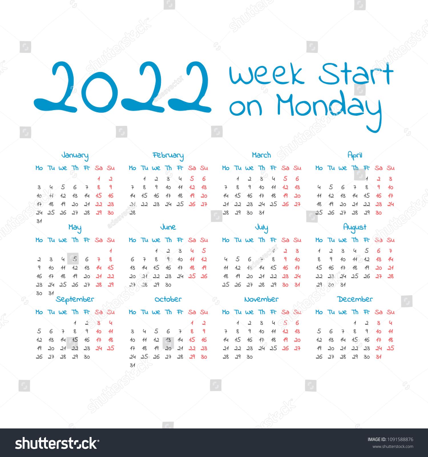 2022 Calendar Monday Start.2022 Calendar Week Start On Monday Stock Vector Royalty Free 1091588876