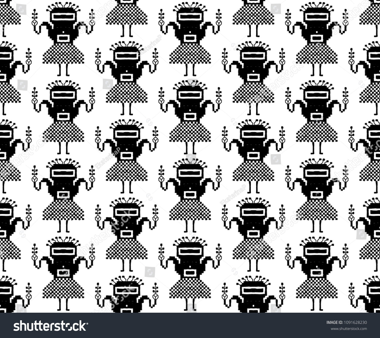 Seamless Pattern Folk Embroidery Black On Stock Vector 1091628230