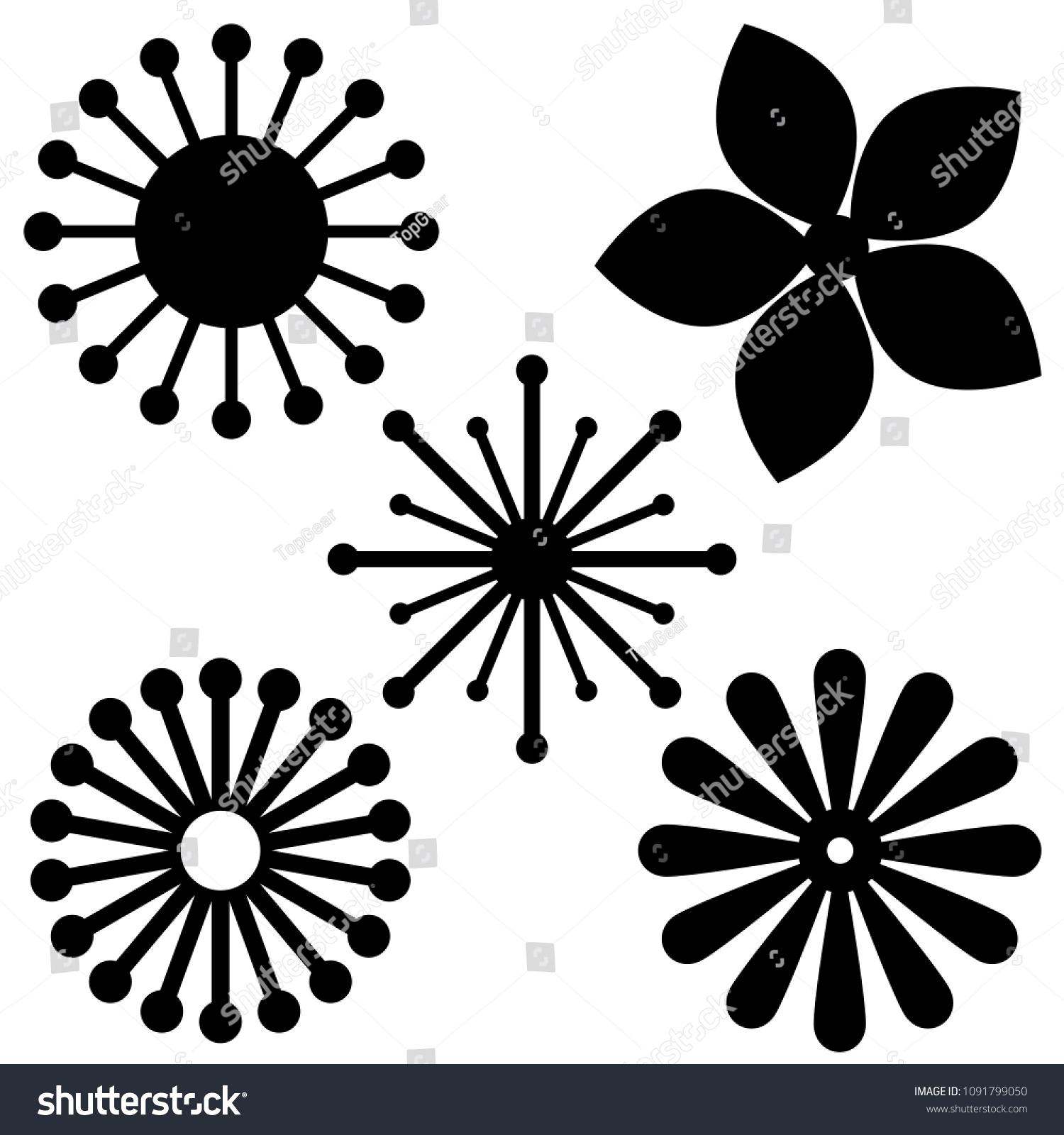 Set Templates Paper Flowers Black Geometric Stock Vector 1091799050