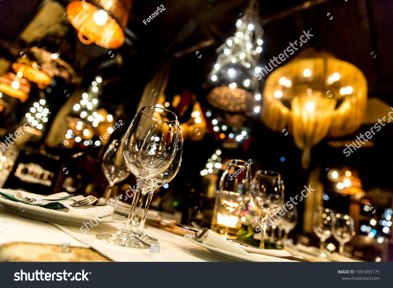 Luxury Elegant Table Setting Dinner Restaurant Stock Photo Edit Now 1091833175