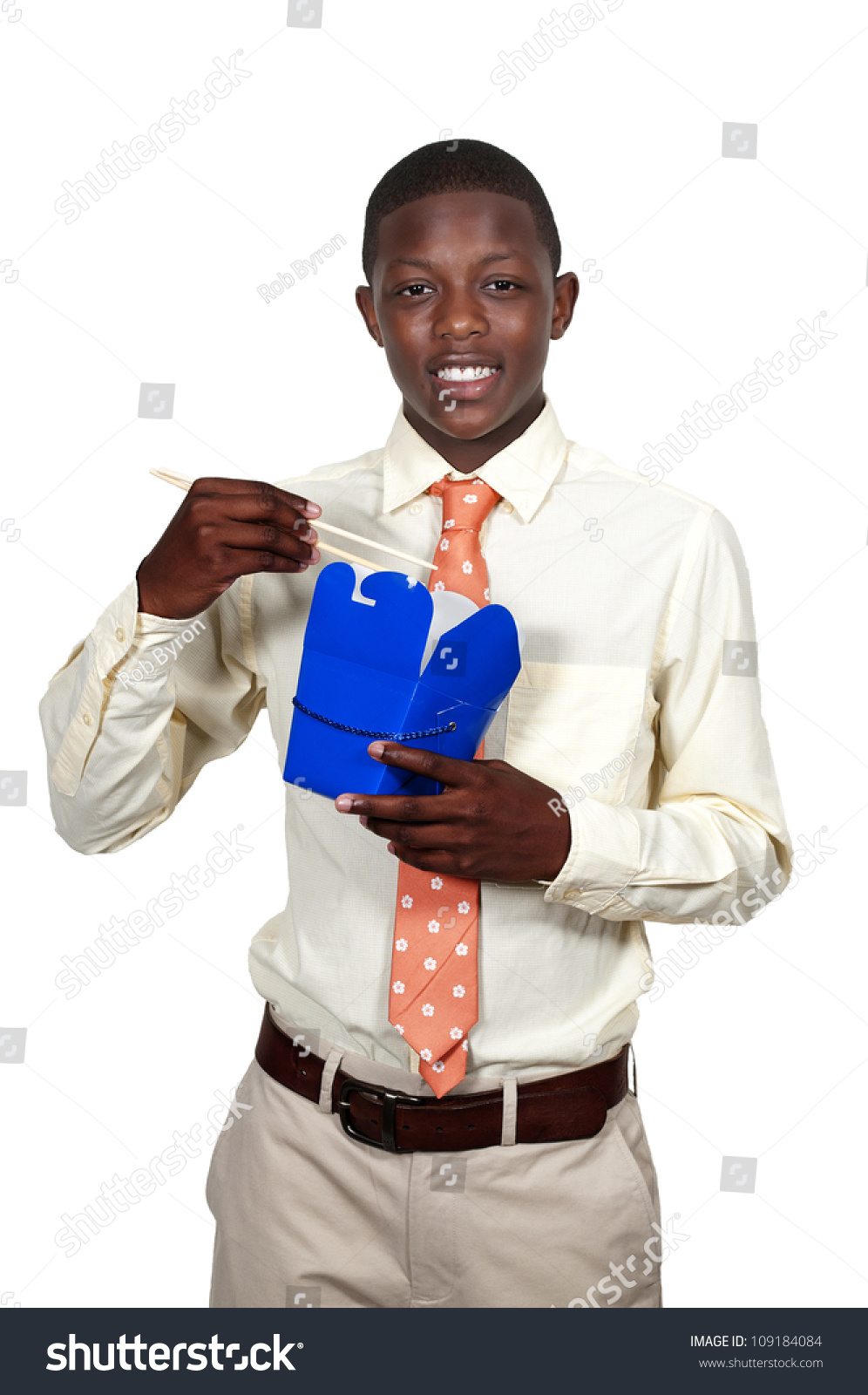 Handsome Teenage Black African American Man Eating Chinese ...