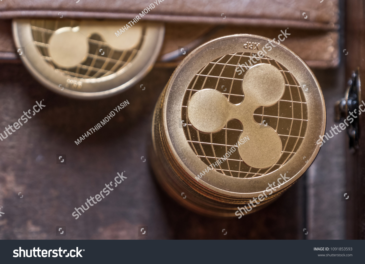 Ripple Coin Leather Wallet On Wooden Stock Photo (Edit Now