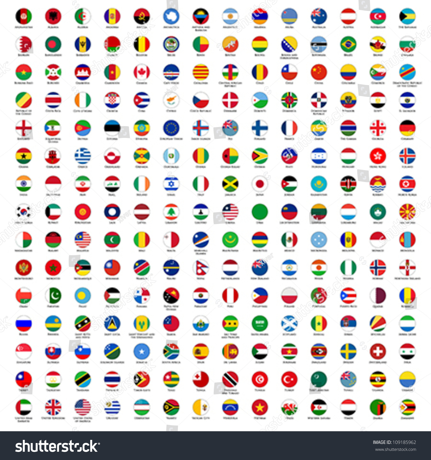 alphabetically sorted circle flags of the world with official RGB coloring and detailed emblems #109185962