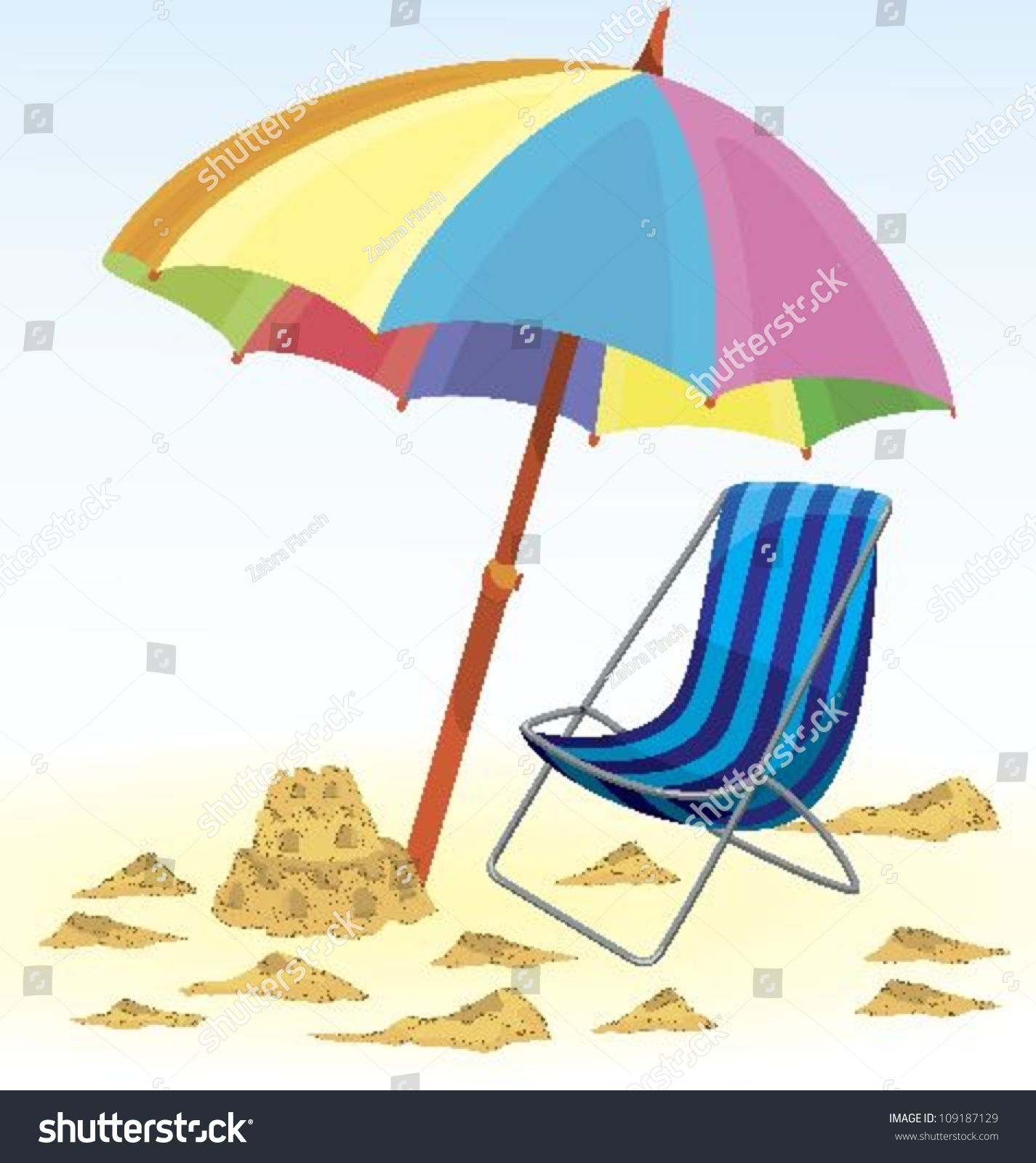 Beach Umbrella Chair Sand Castle Vector Stock Vector