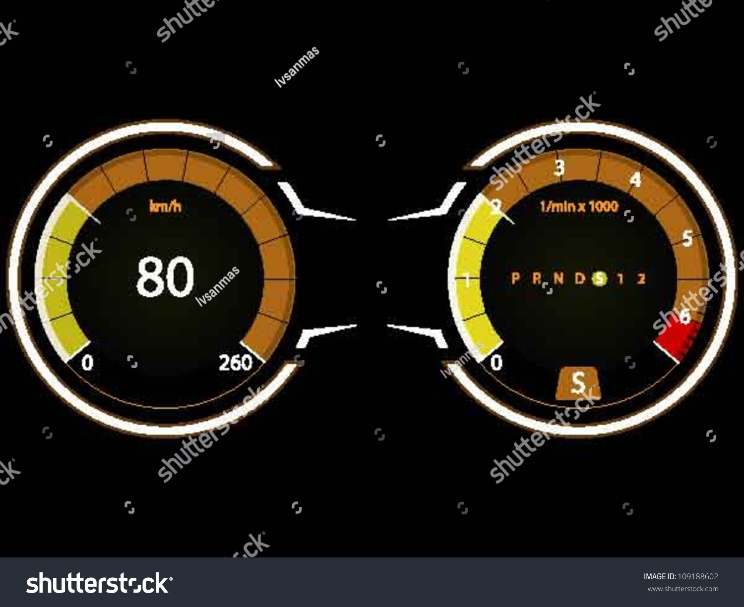 rpm gauge vector. digital modern speedometer and rpm gauge, with gear selection indicator, isolated on black rpm gauge vector