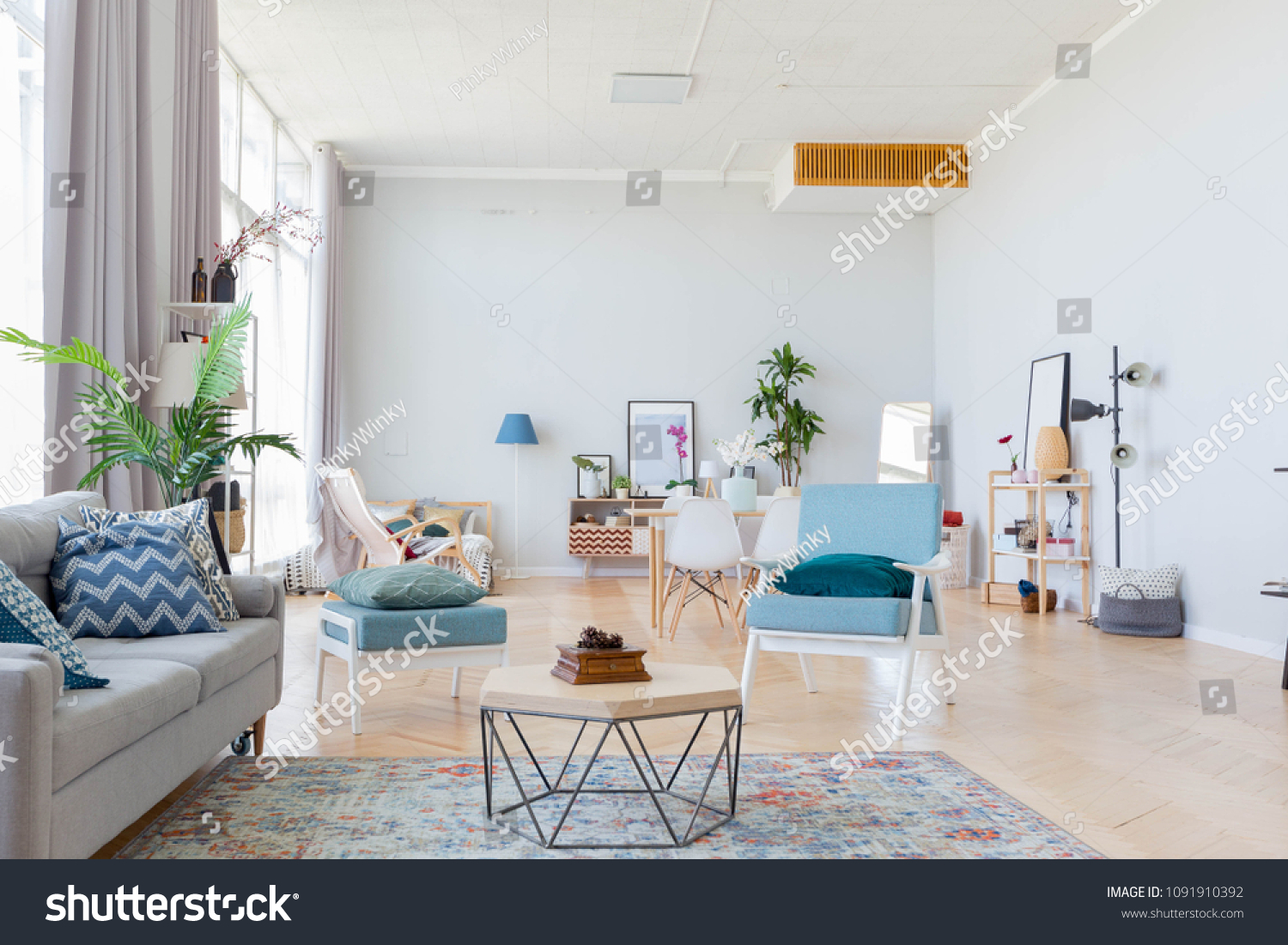 The interior design of the studio apartment in scandinavian style a spacious huge room in