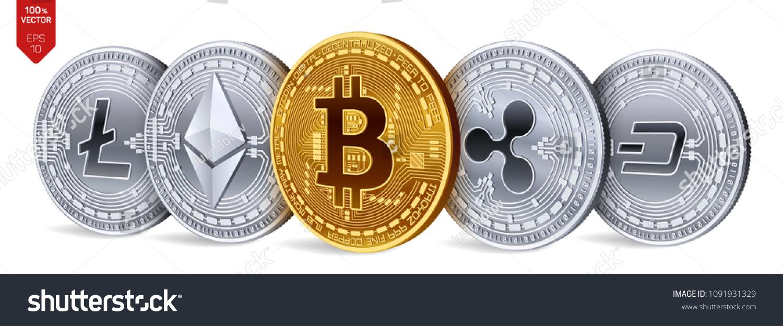 Bitcoin Ripple Ethereum Dash Litecoin 3 D Stock Vector (Royalty Free