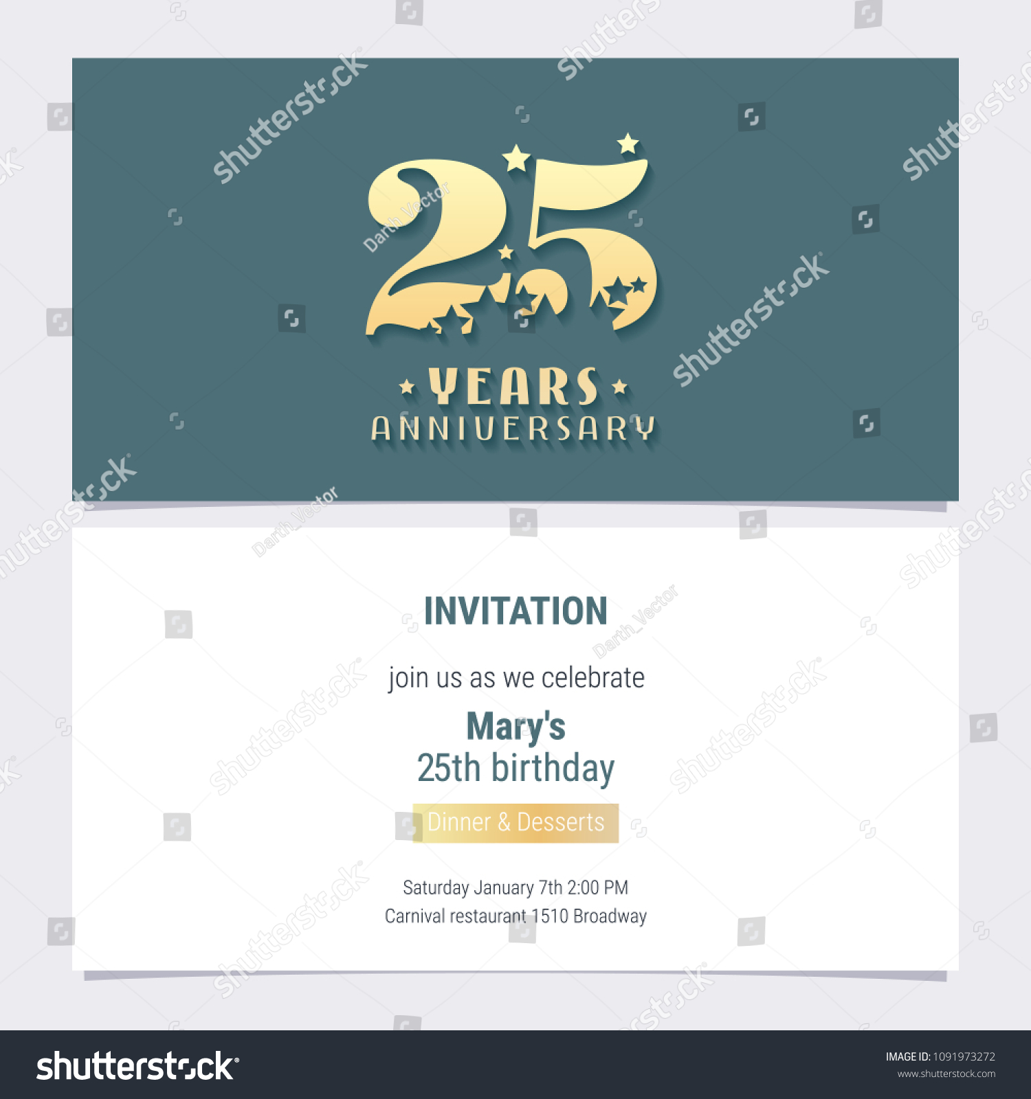 25 Years Anniversary Invitation Vector Illustration Template Design Element For 25th Birthday Card Party Invite