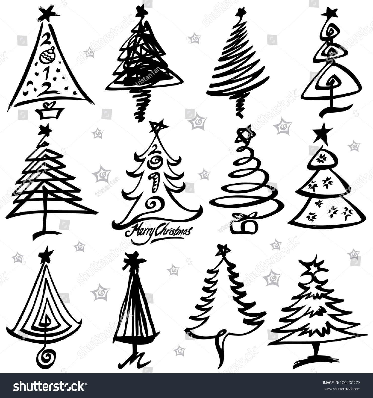 vector illustration of christmas tree design set - Christmas Tree Designs