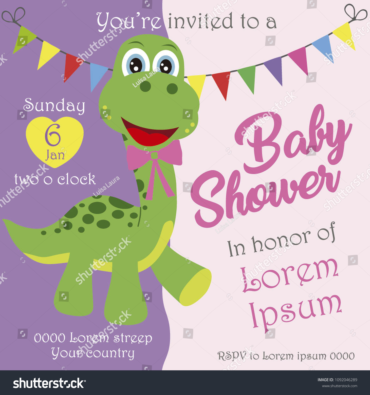Baby Shower Invitation Card Girl Cheerful Stock Vector Royalty Free