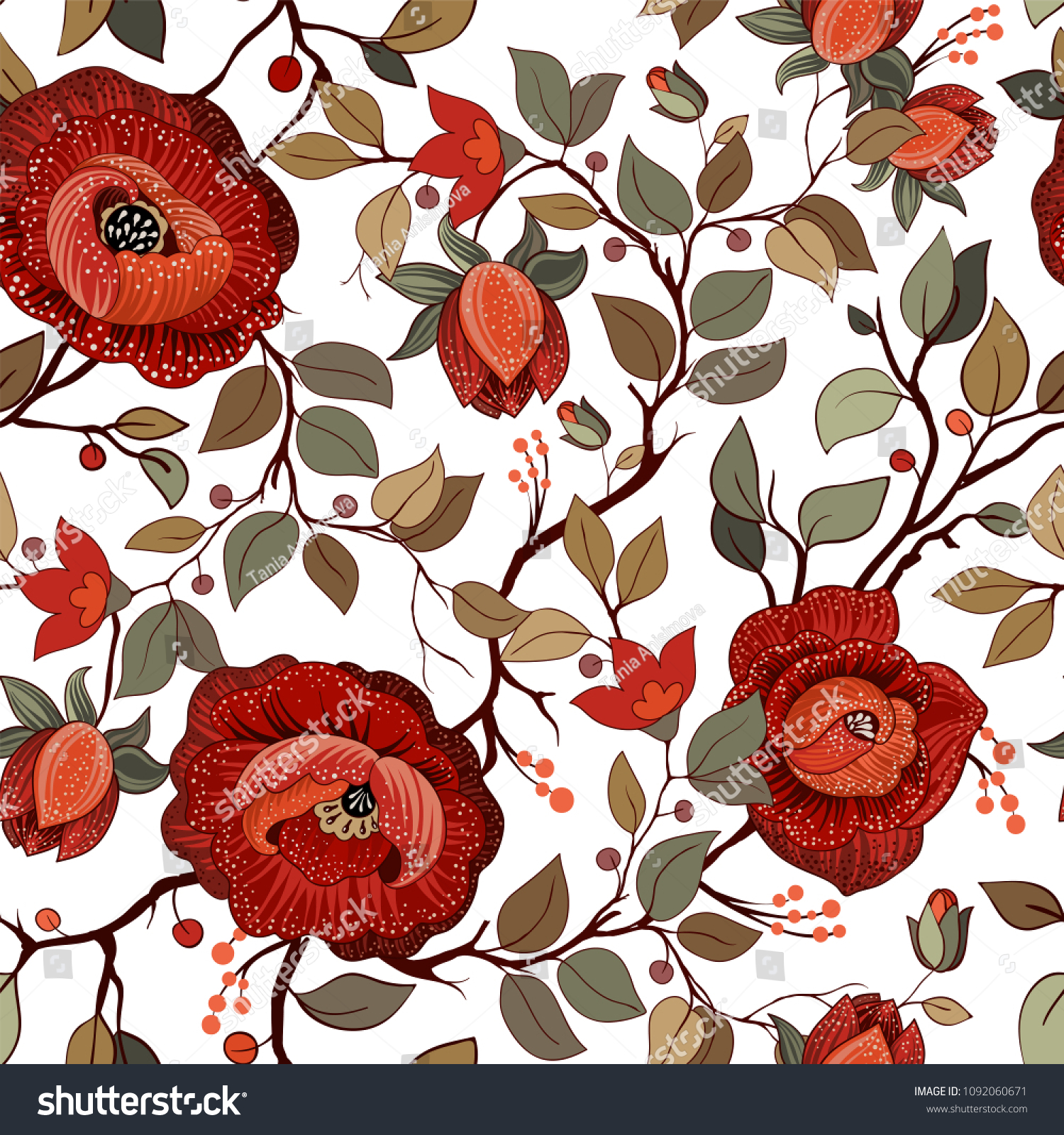 Big Red Flowers On White Background Stock Illustration 1092060671