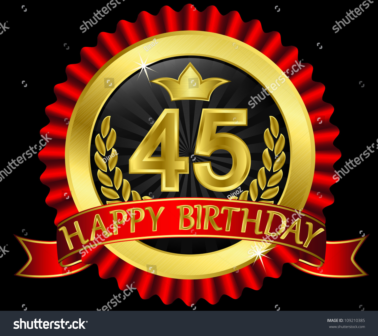 45 Years Happy Birthday Golden Label With Ribbons Vector