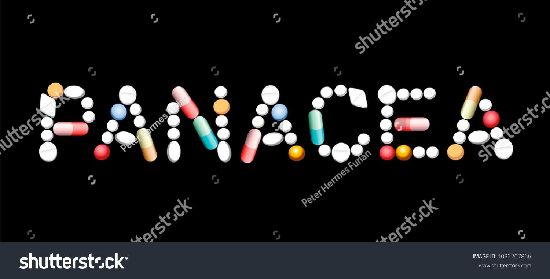 PANACEA Written Pills Capsules Symbolic Magic Stock Vector (Royalty