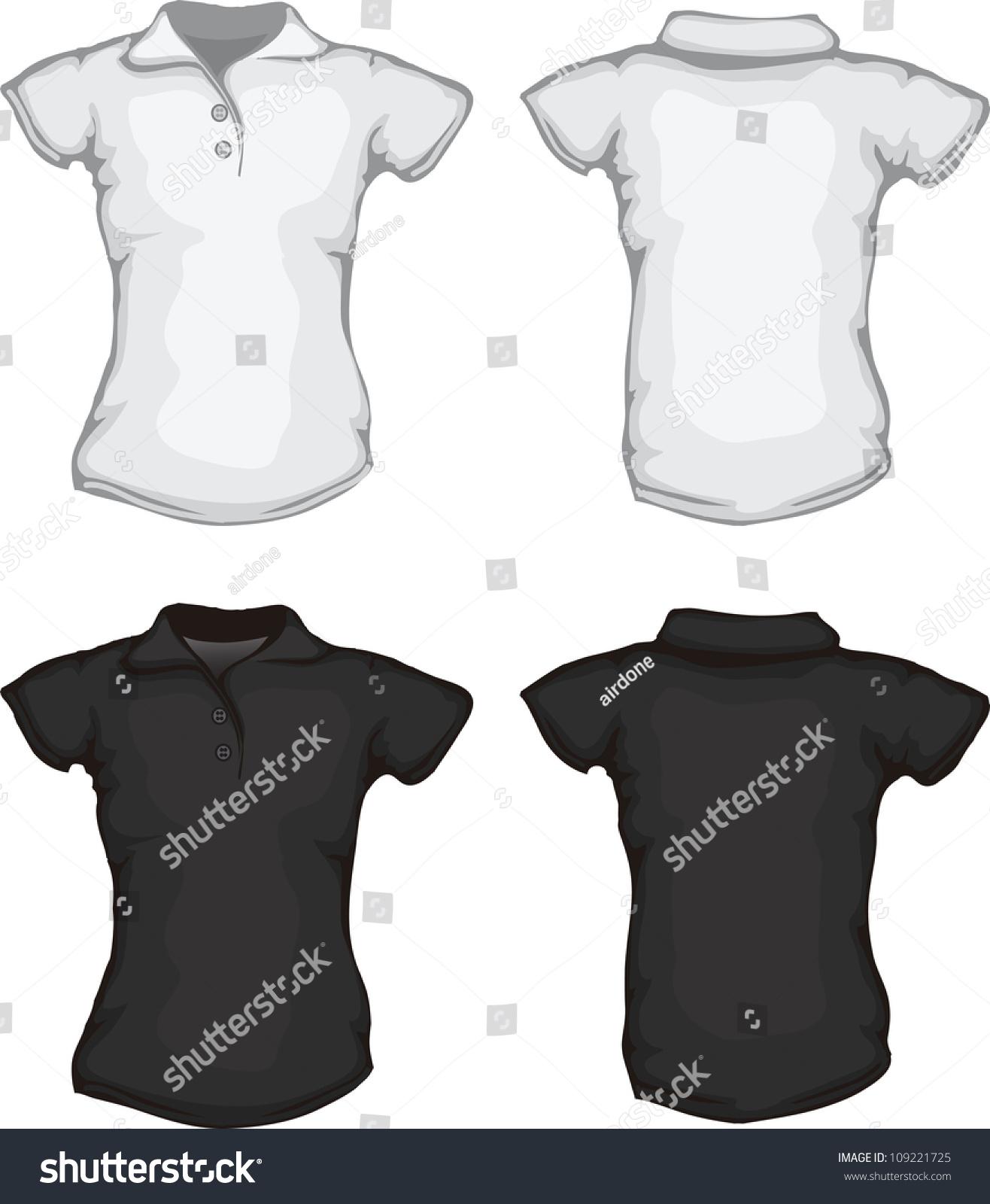 Vector Set Of Black White Women'S Polo Shirt Template