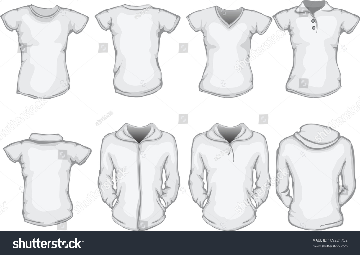 White t shirt front and back template - Vector Illustration Of Female Blank Shirts Template In White Front And Back Design Check