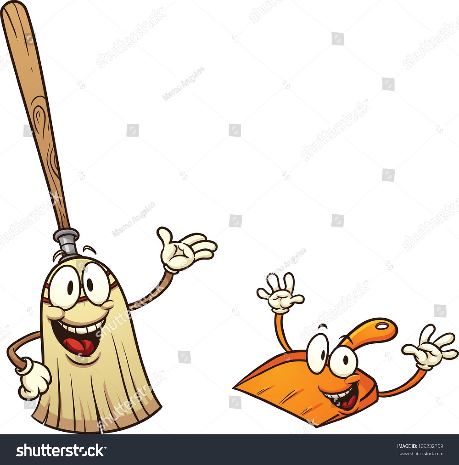 Cute Cartoon Broom Dustpan Vector Illustration Stock