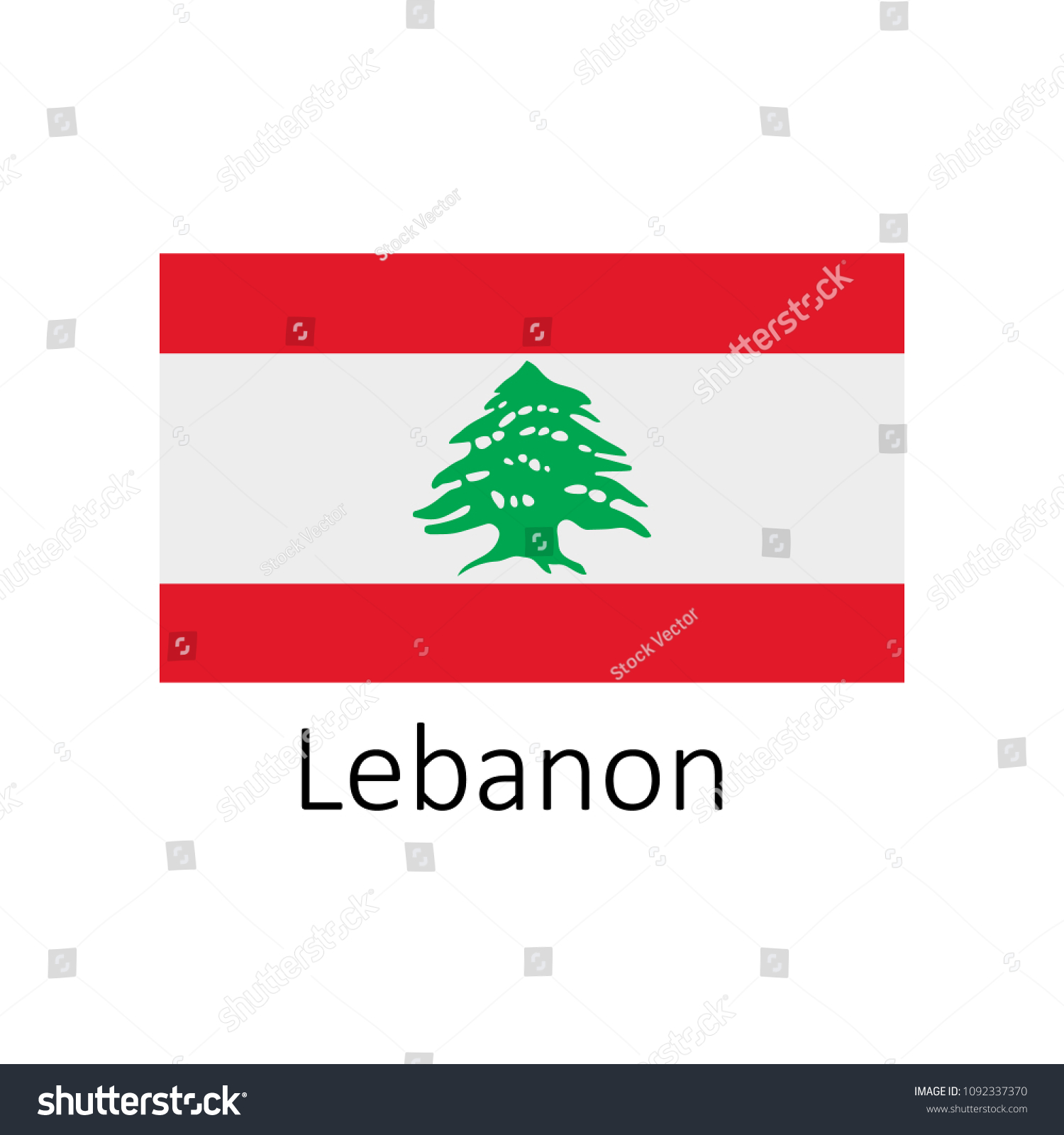 Flag Lebanon Name Icon Official Colors Stock Vector (Royalty Free ...