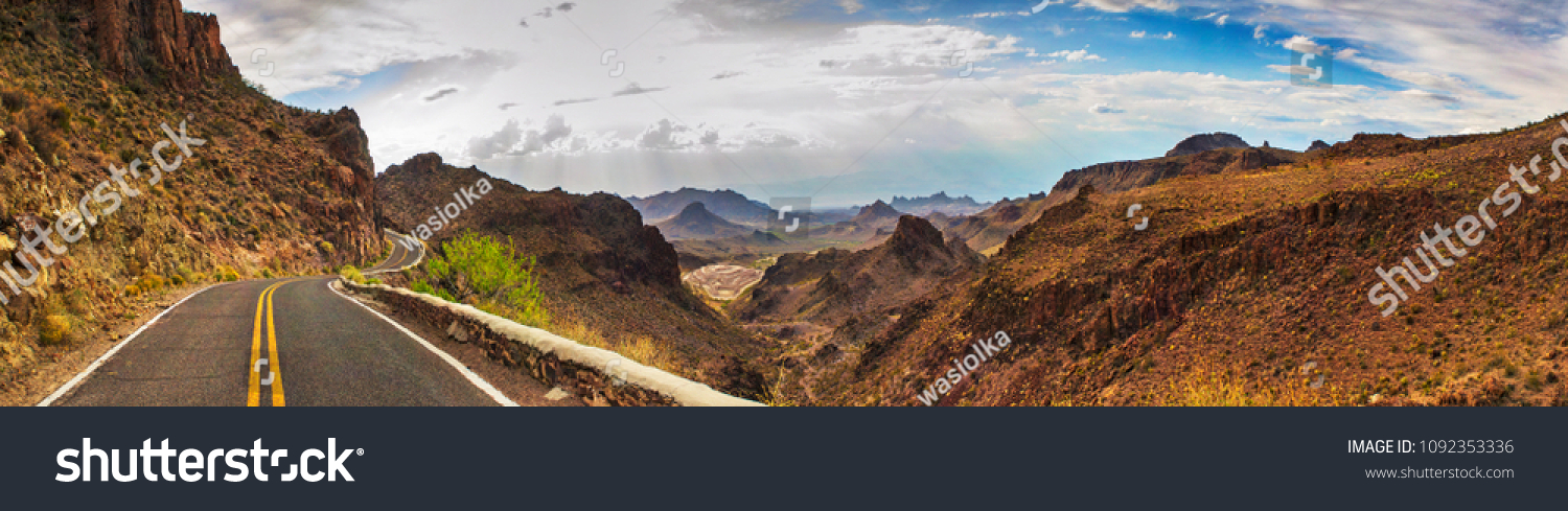 ROUTE 66 - OATES, SITGREAVES PASS IN BLACK MOUNTAINS, ARIZONA / CALIFORNIA - PANORAMA - AERIAL VIEW. DRONE SHOT. #1092353336