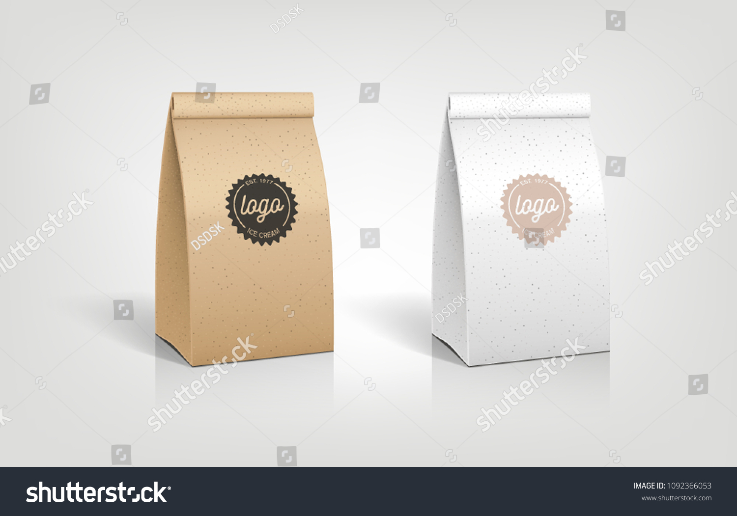 Craft Paper Bag Packaging Illustration Template Design Lunch Pouch Recycled Organic Food