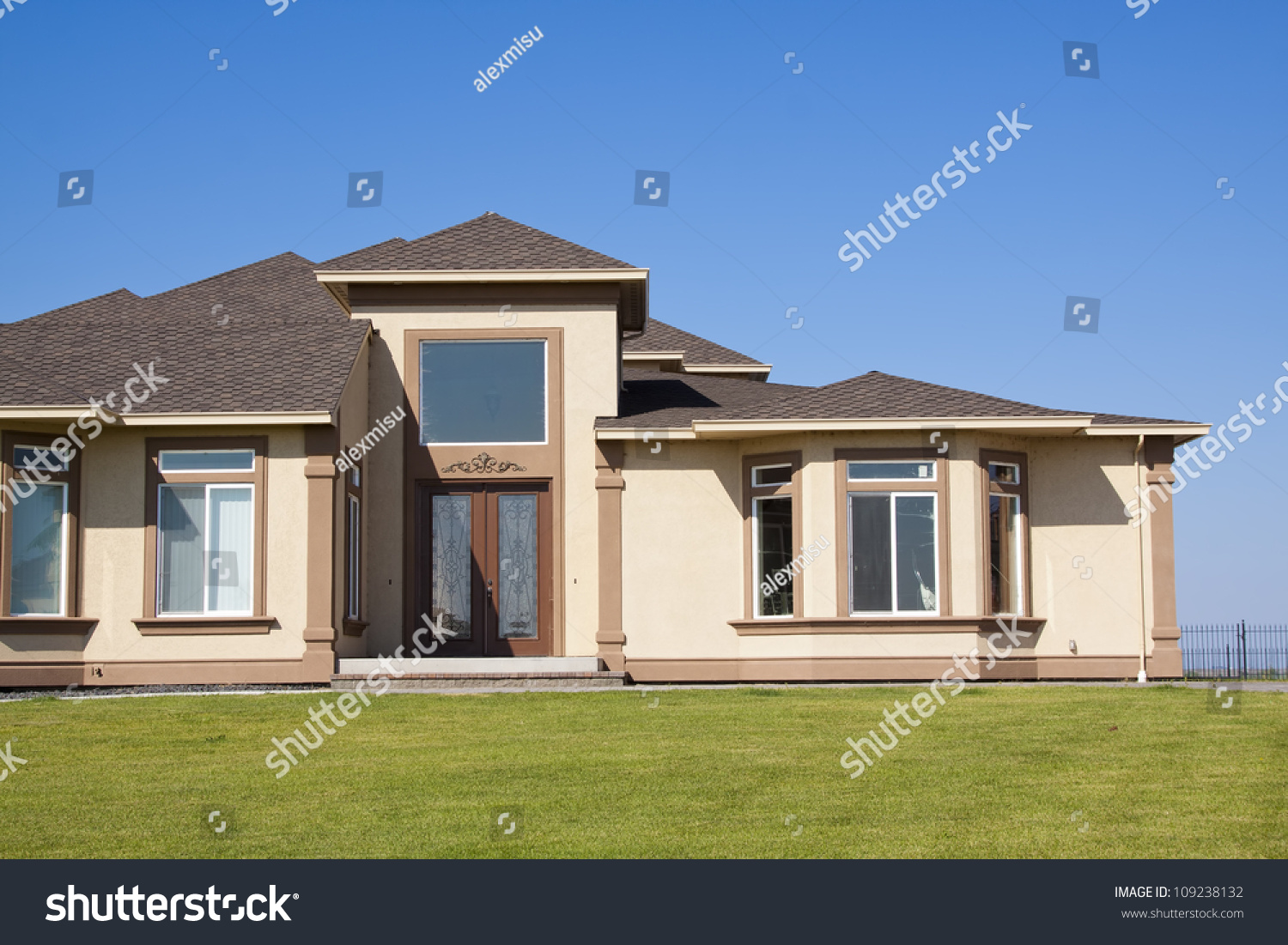 Modern House Front ntrance With Green Grass nd Blue Sky Stock ... - ^