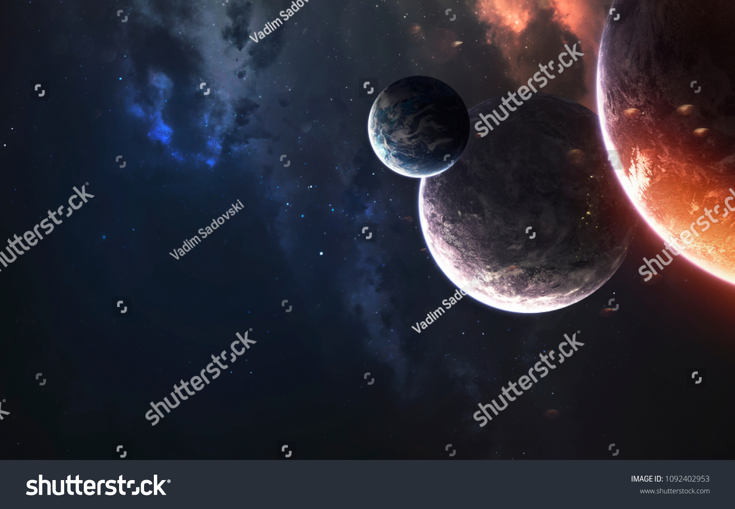 Deep space planets, awesome science fiction wallpaper, cosmic landscape. Elements of this image furnished by NASA #1092402953
