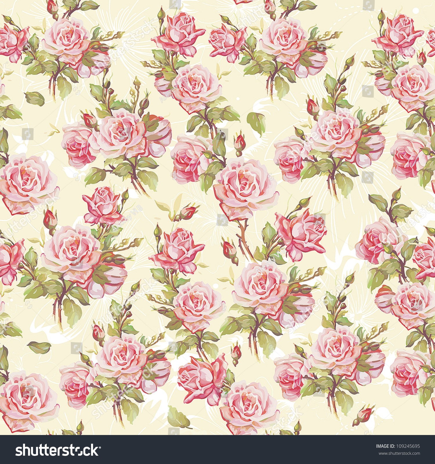 Classic Seamless Floral Background Beautiful Flower Stock Vector