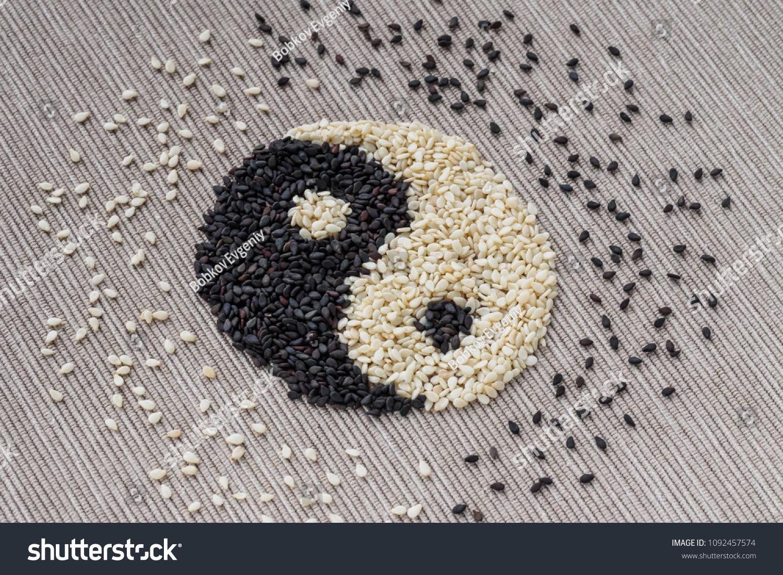 Black White Seed Sesame Yin Yang Stock Photo Edit Now 1092457574