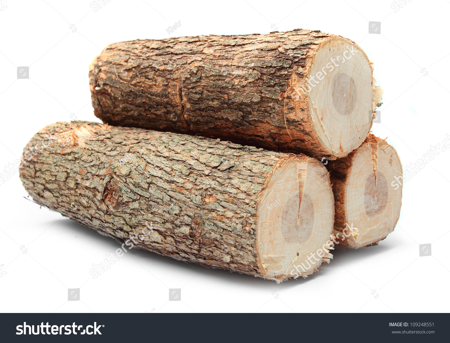 Cut Log Fire Wood Common Oak Stock Photo 109248551 ...