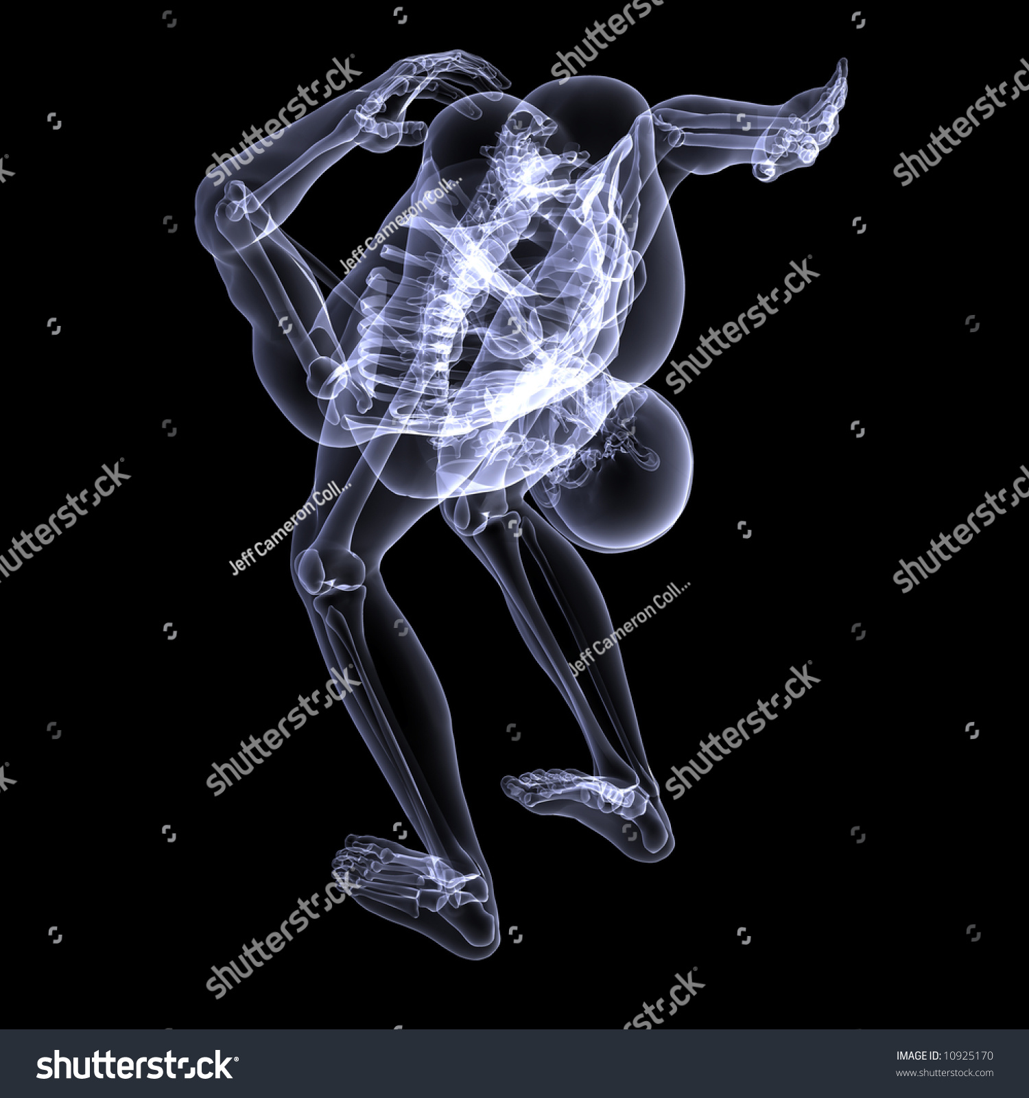 X-Ray of a male skeleton kissing his ass goodbye. Isolated on a black