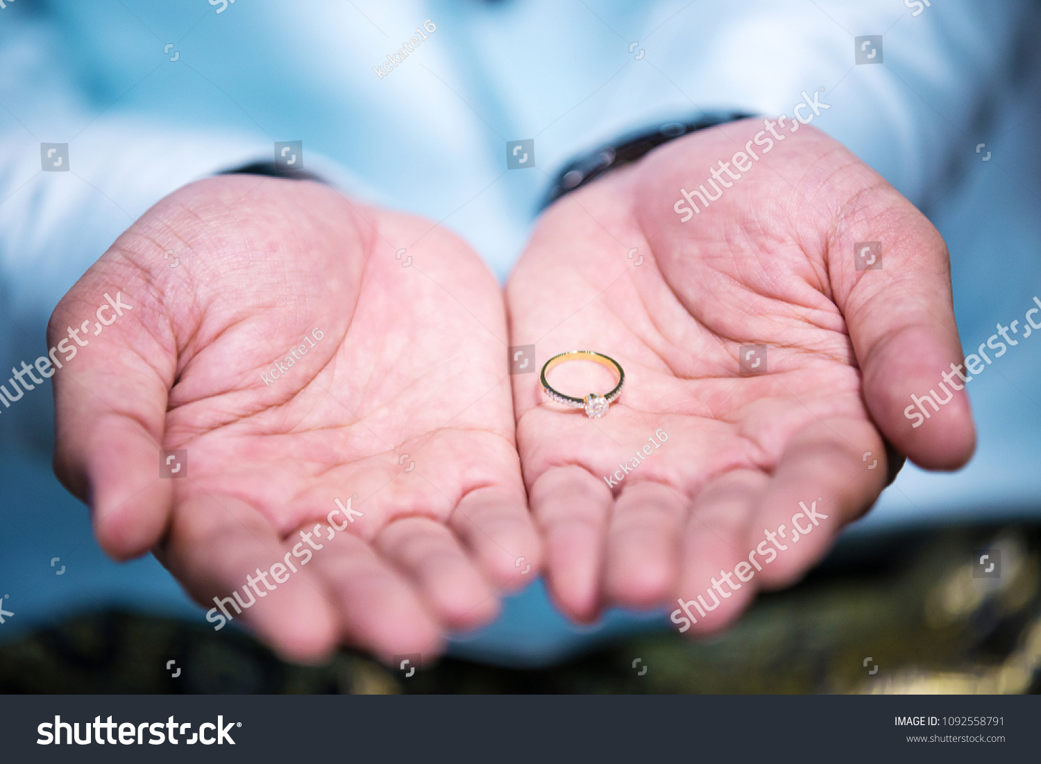 Diamond Wedding Ring Grooms Palm Hand Stock Photo (Royalty Free ...