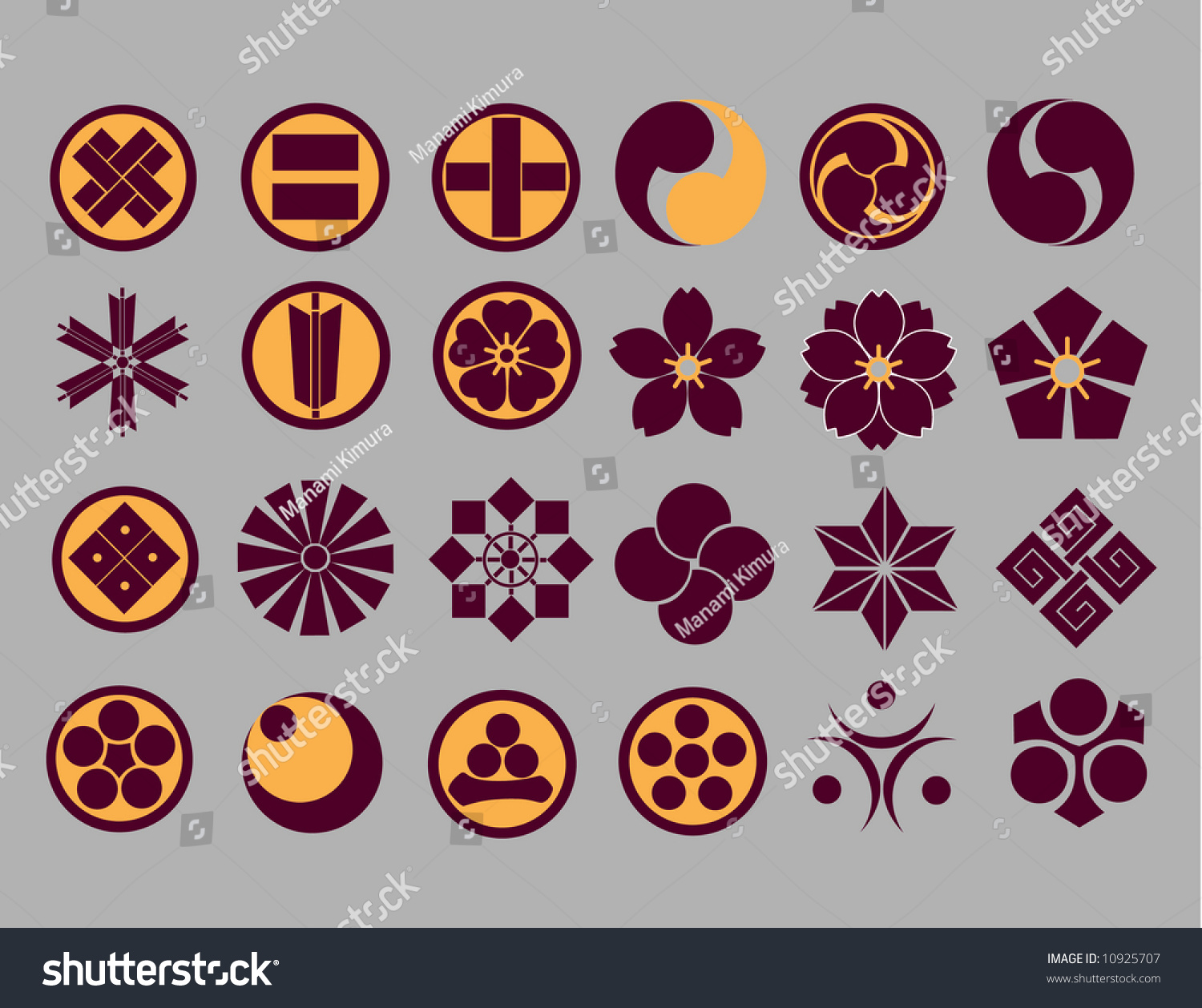 Floral icons japanese family crest icons stock vector 10925707 floral icons japanese family crest icons part2 vector buycottarizona
