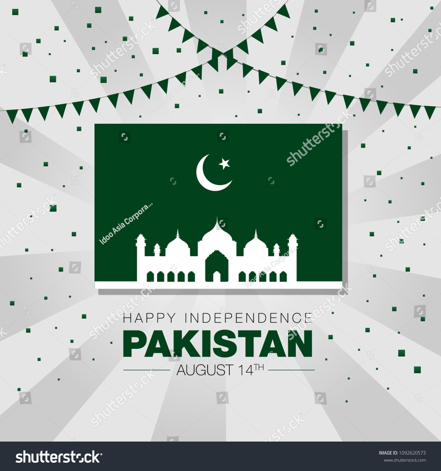 Pakistan Independence Day Celebration Vector Illustration Stock ...