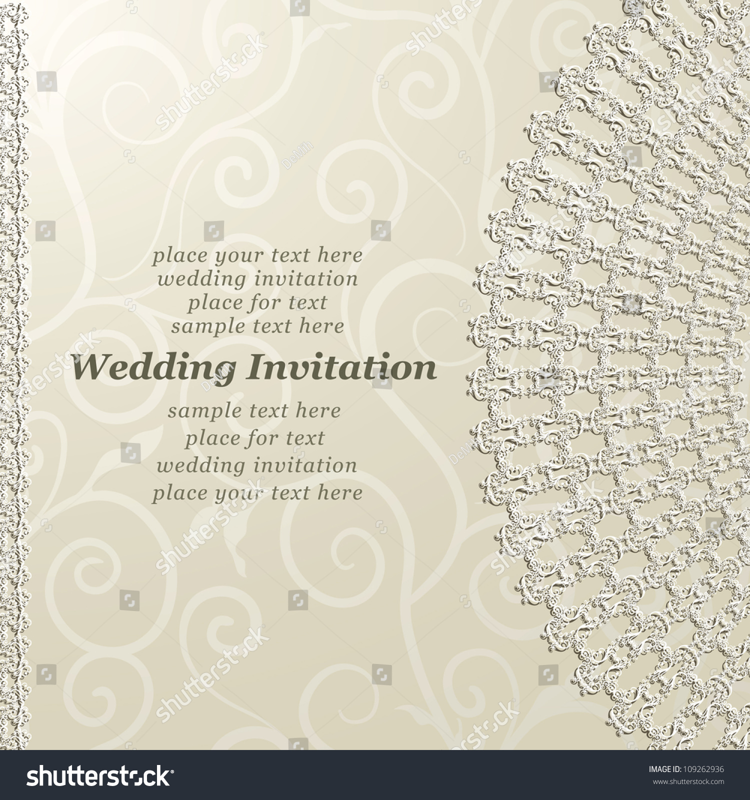 Elegant Wedding Invitation Lace Design On Stock Vector 109262936 ...
