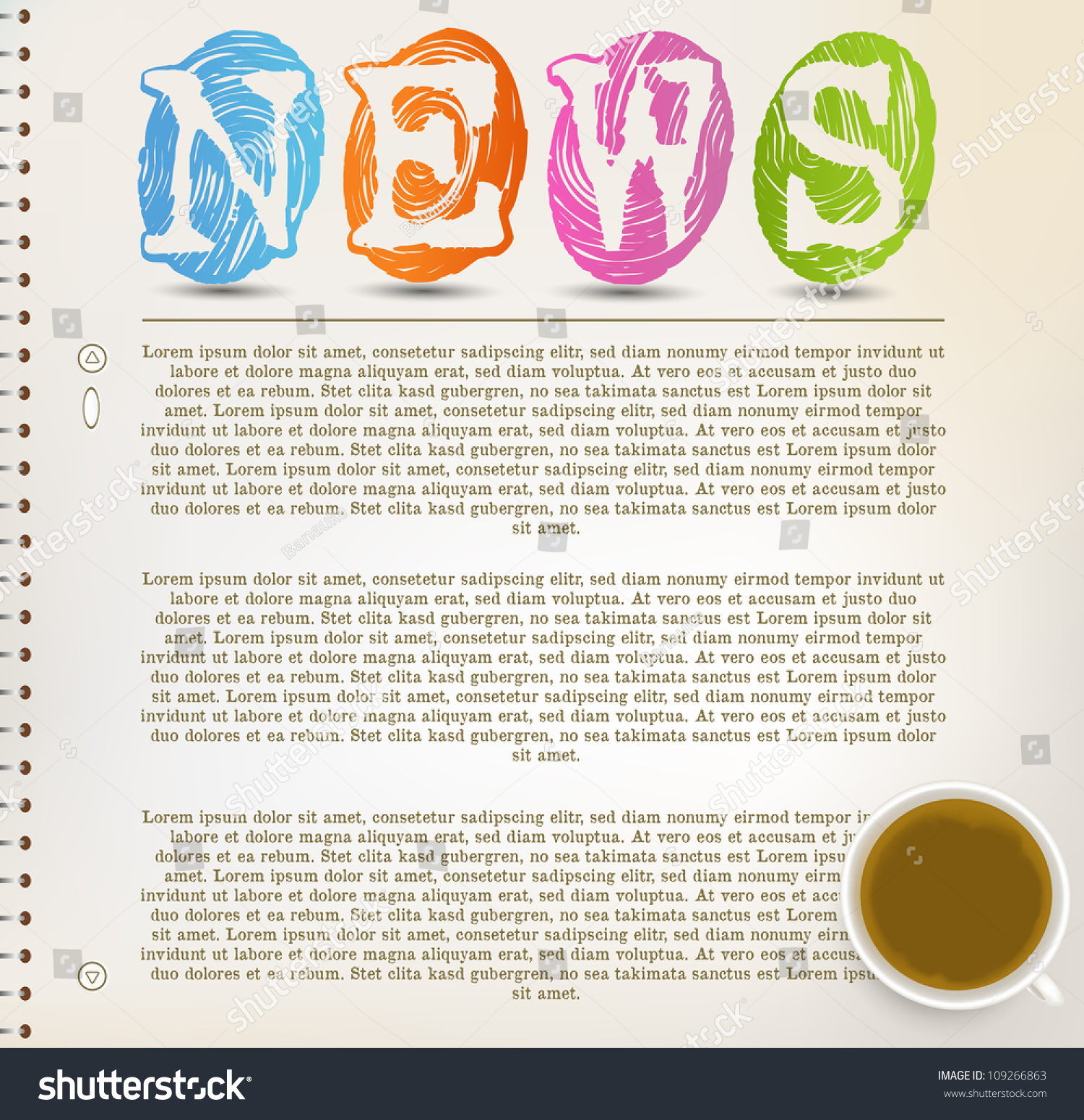 Education News Newspaper White Background Template Stock Vector
