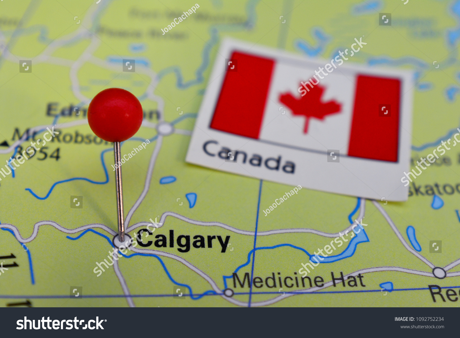 Pin Marked City Calgary On Map Stock Photo Edit Now 1092752234