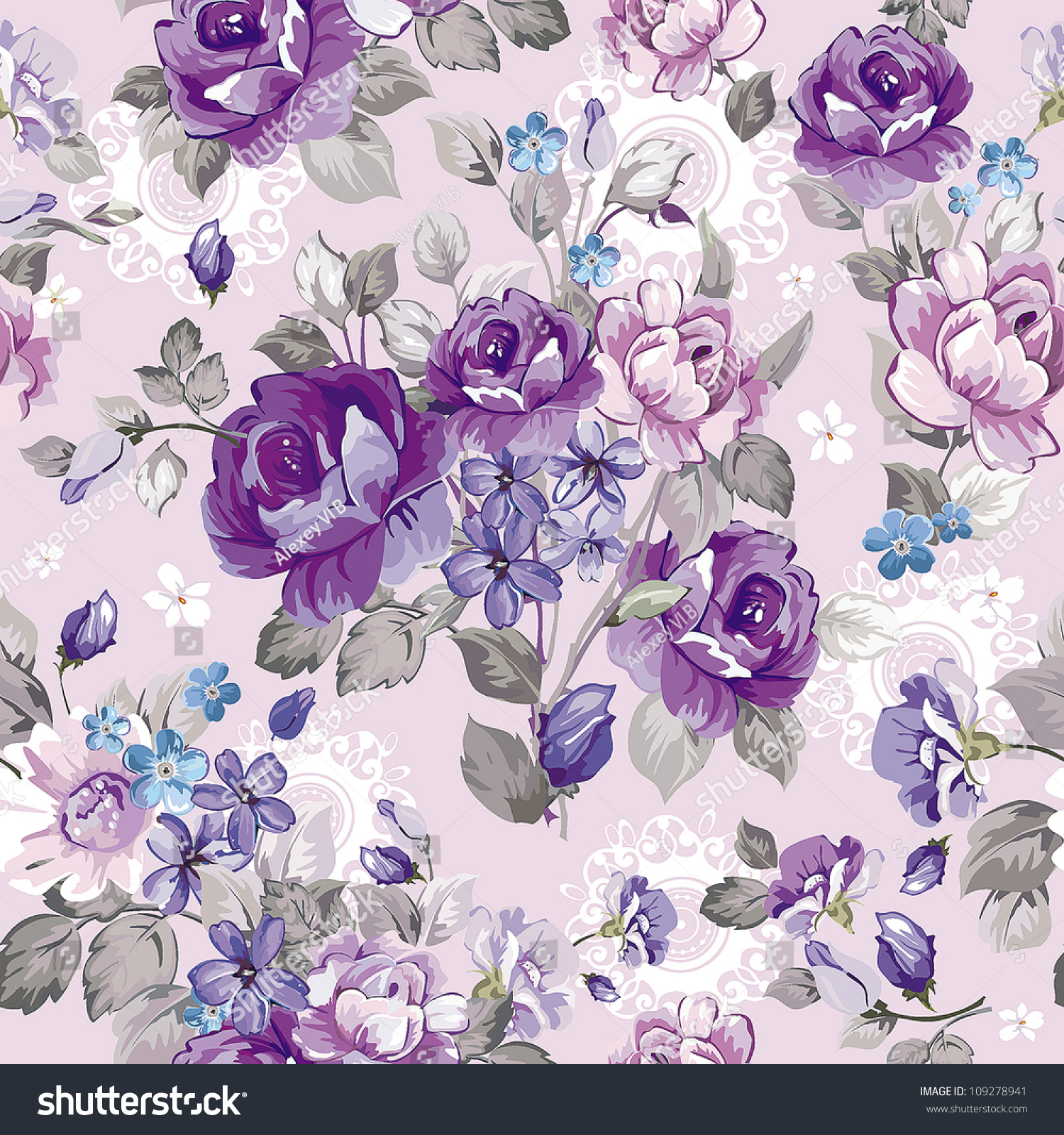 Garden floral seamless pattern on purple background watercolor vector - Beautiful Vintage Seamless Pattern Retro Wallpapers Stock