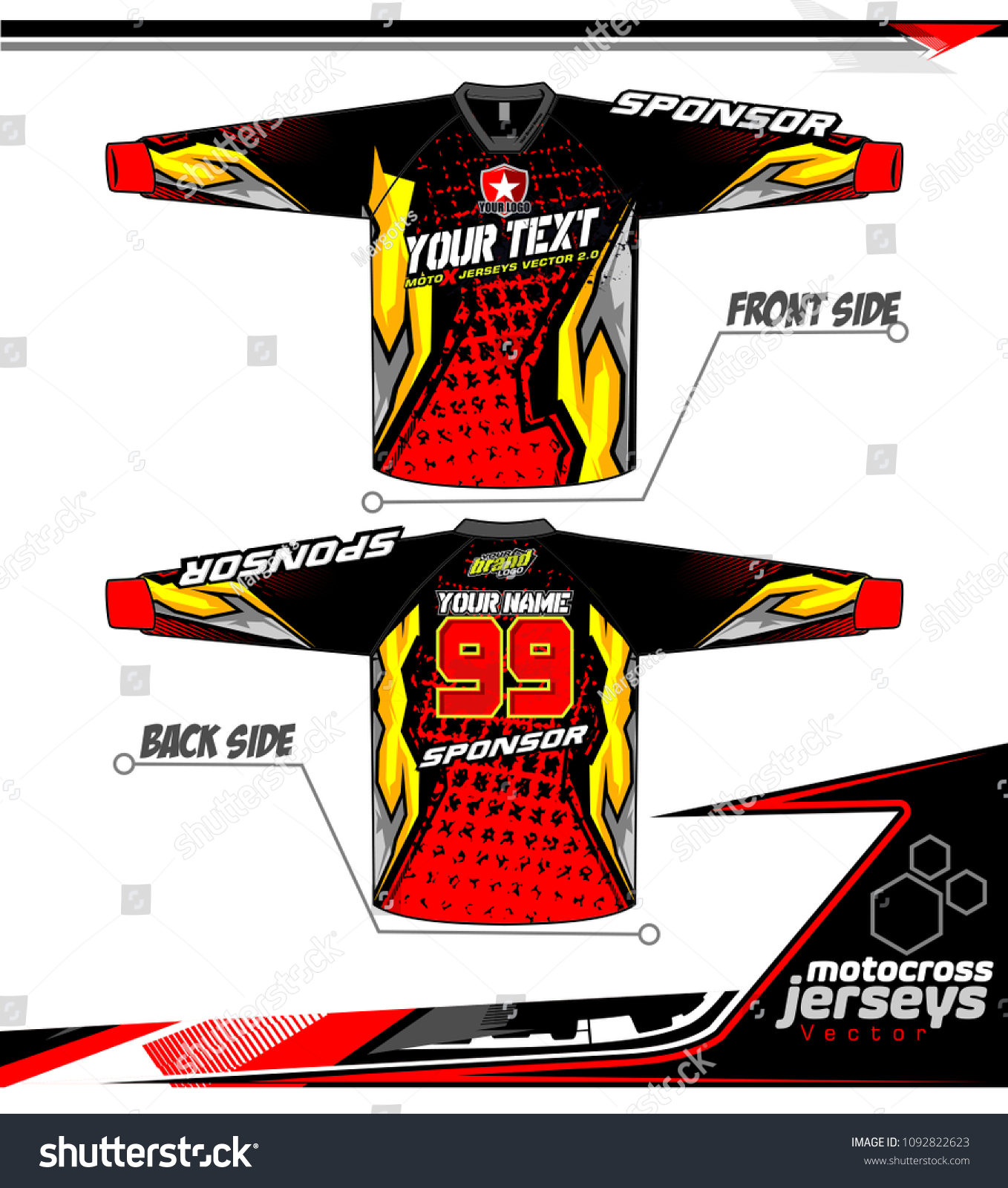 2dacf7b4 Long sleeve Motocross jerseys t-shirts vector, graphic design for football  uniforms, unisex