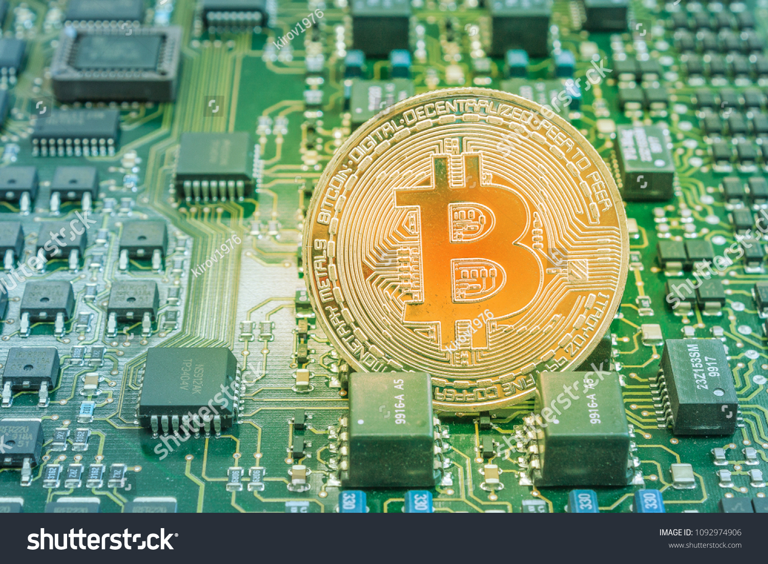 Bitcoin Medal On Printed Circuit Board Stock Photo Edit Now Pcb The Printedcircuitboard 3d Royalty Free Photography