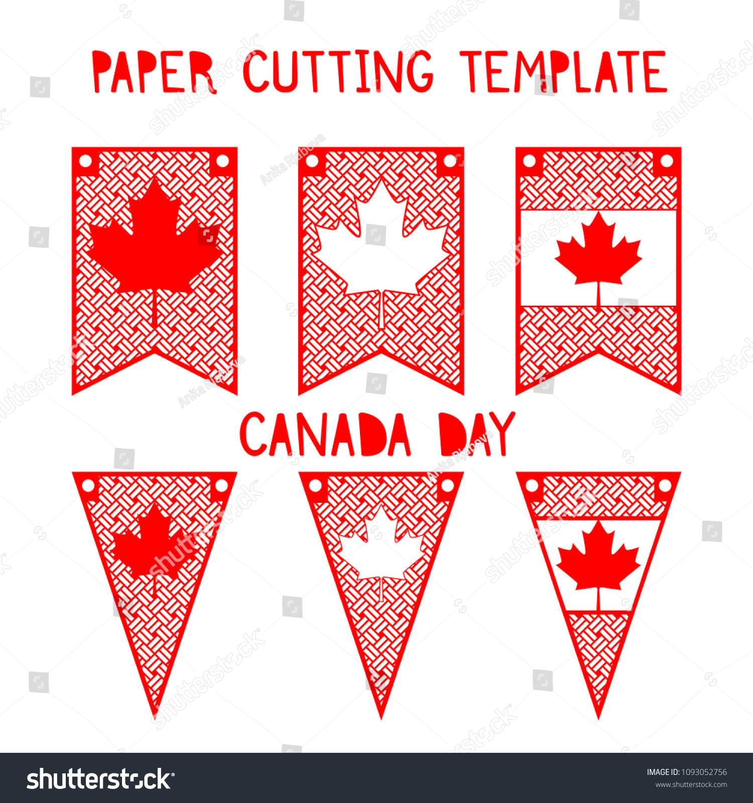 Canada Day Set Patterns Decorative Flags Stock Vector Royalty Free