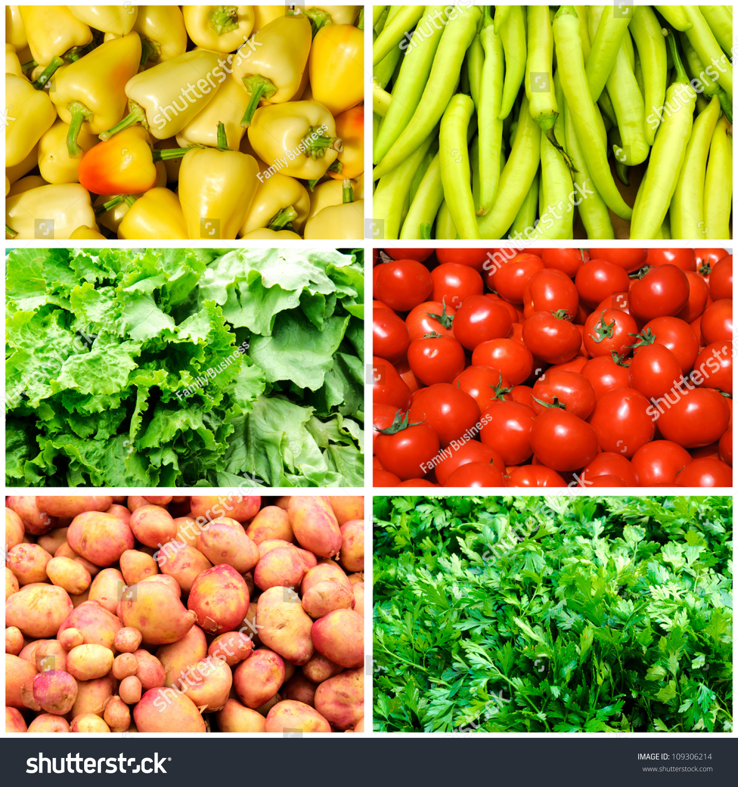 Bunch Vegetables On Collage Foto de stock (libre de regalías ...