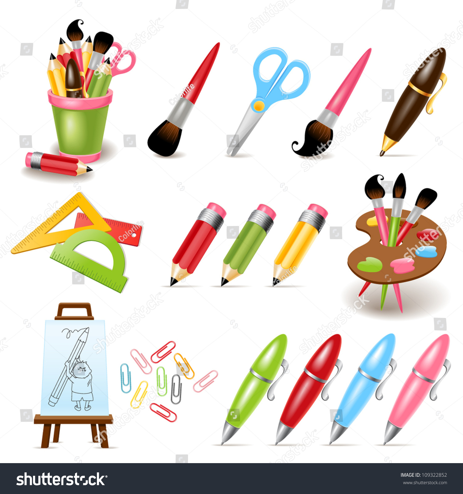 Drawing Painting Tools Stock Vector 109322852 Shutterstock