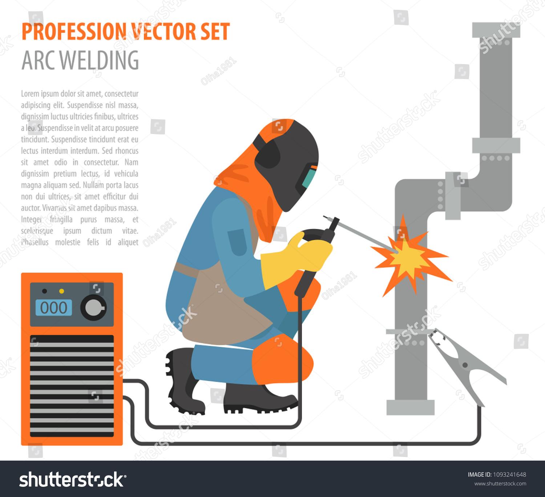 metal welding equipment, gas cutting flat design icon welder worker  vector  illustration
