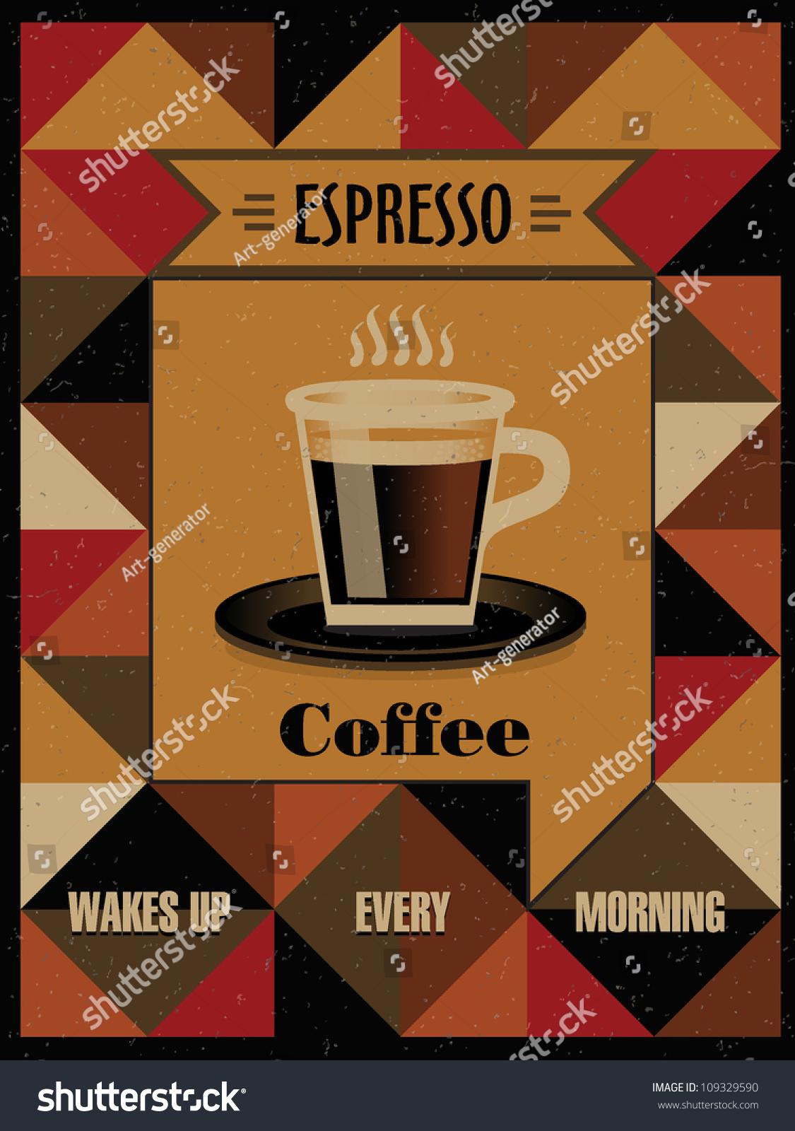 Coffee Espresso Retro Poster Stock Vector 109329590 - Shutterstock