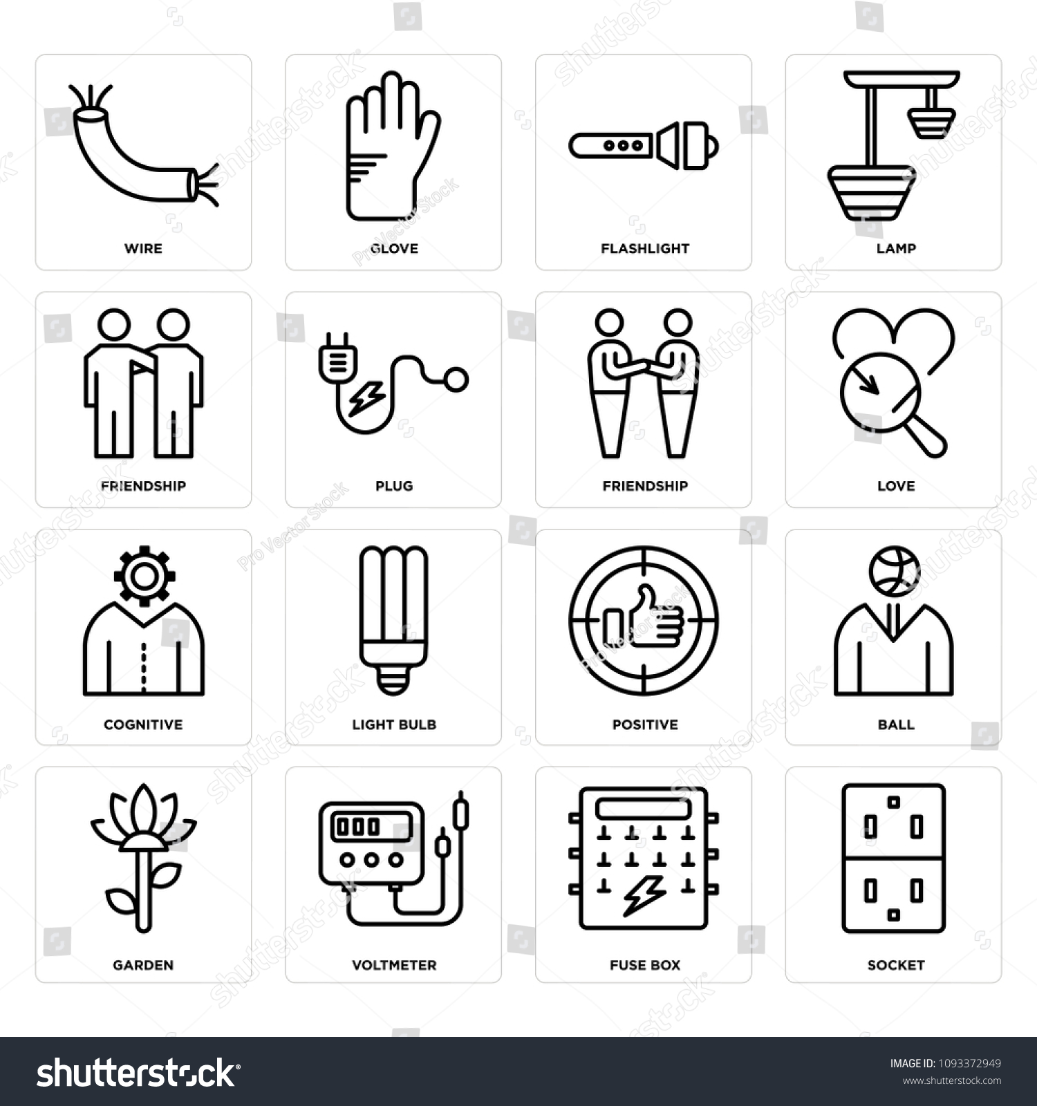 Set Of 16 simple editable icons such as Socket, Fuse box, Voltmeter, Garden