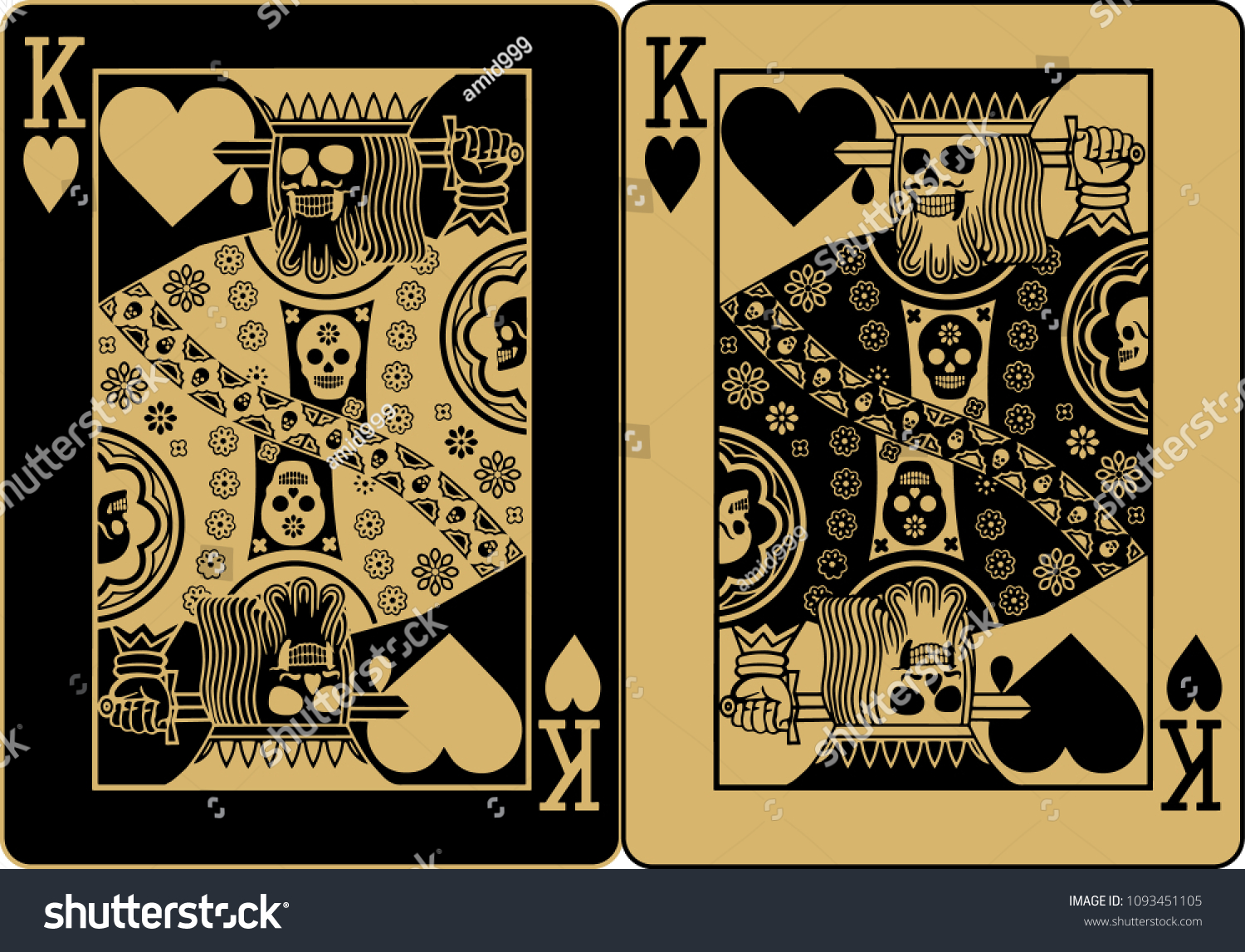 Gold Poker Card King Heart Stock Vector Royalty Free 1093451105