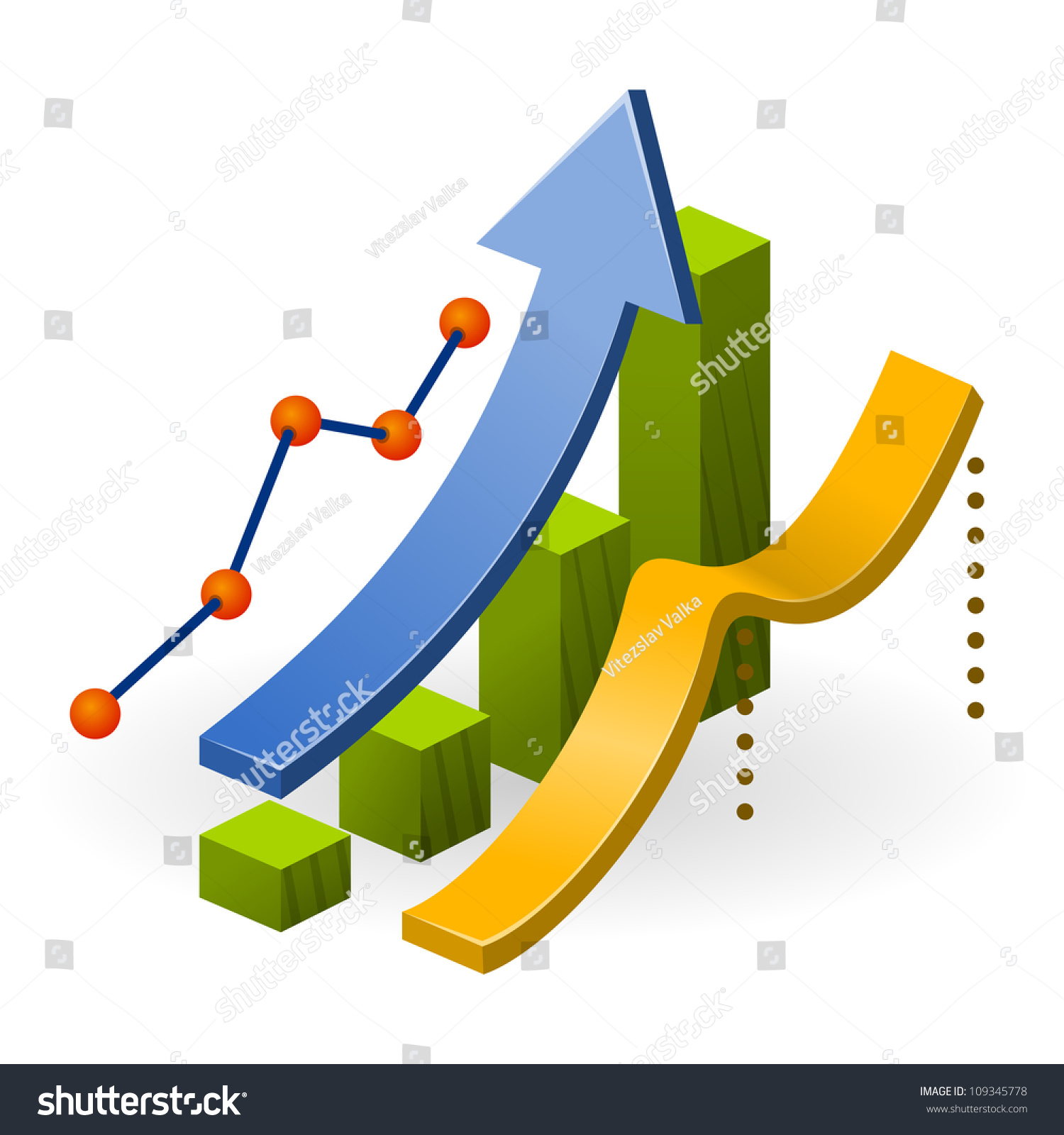 business performance chart ascending diagram arrow stock vector business performance chart ascending diagram arrow and three types of data