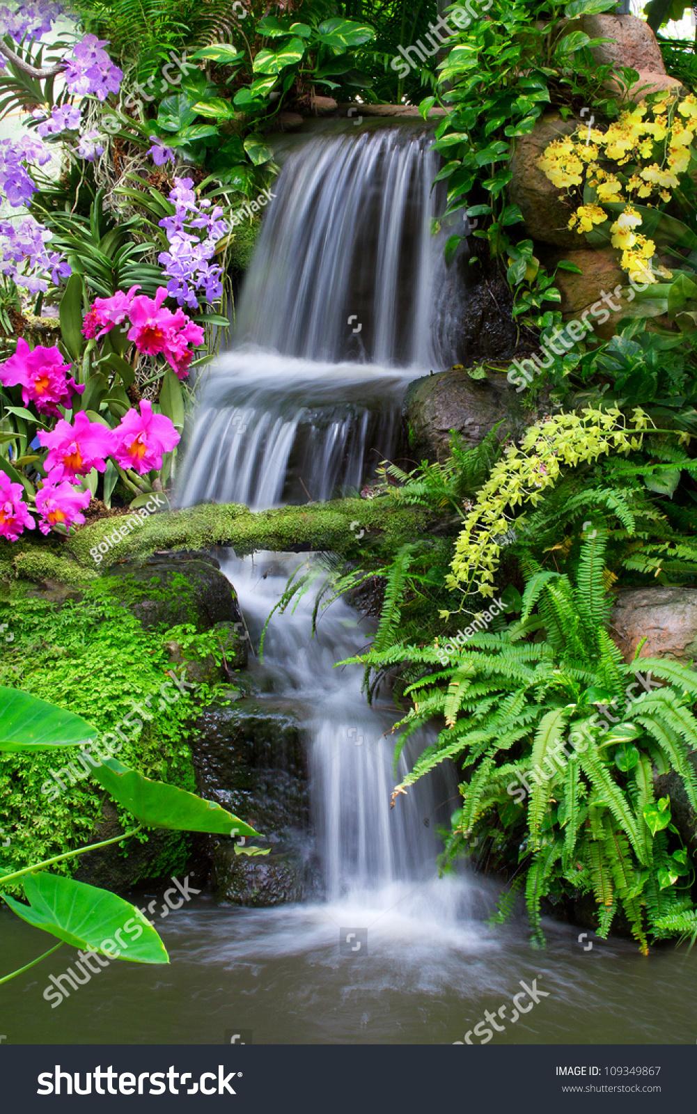 Waterfall In Garden Stock Photo 109349867 : Shutterstock